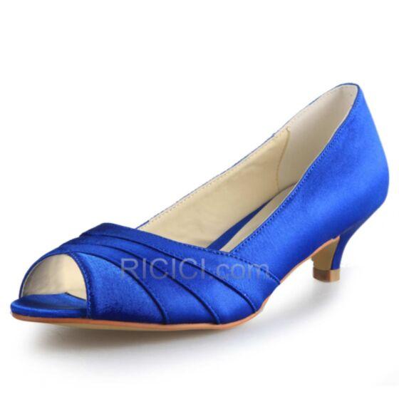 Plisado Azules Rey Zapatos Con Tacon Zapatos Para Novia Tacon Medio Satin Stiletto Peep Toe