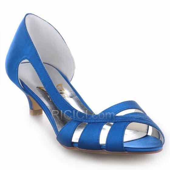Azul Rey De Tiras Sandalias De Saten Tacon Medio Stilettos Zapatos Novia