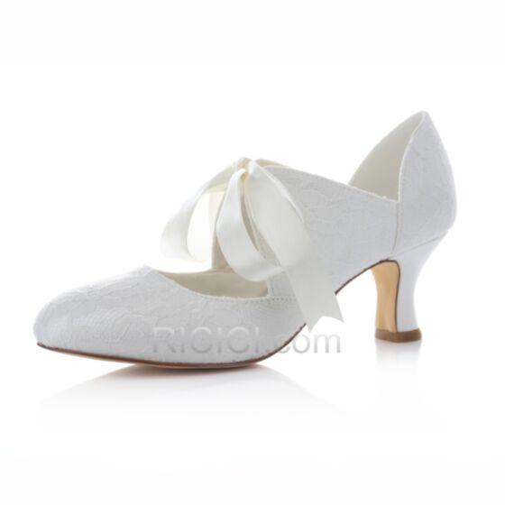 Stilettos Zapatos Para Novia De Punta Fina Con Lazo De Encaje Tacon Medio
