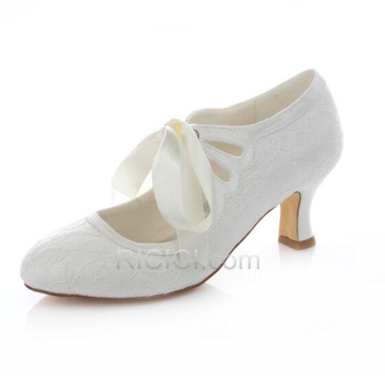 En Punta Fina Blancos Zapatos De Novia De Encaje Tacon Medio Stiletto