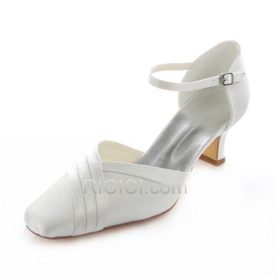 5 cm Tacon Sandalias De Satin Punta Cuadrada Zapatos De Novia