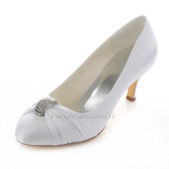 Stilettos Zapatos Tacones De Satin En Punta Fina Tacon Medio 7 cm Blanco