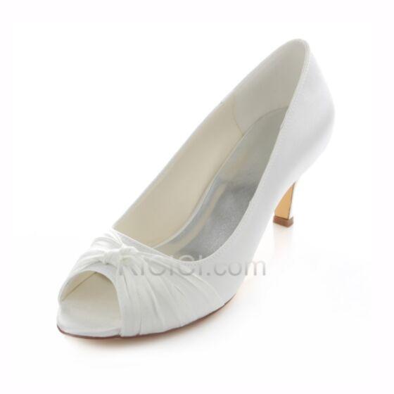 Zapatos Tacon Satin Tacon Medio Stilettos Color Crema Zapatos De Novia