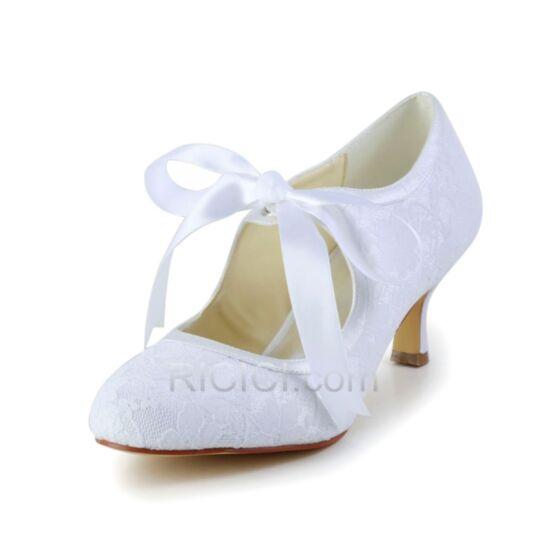 Tacon Medio Encaje Con Lazo Stilettos Zapatos Para Boda Blancos