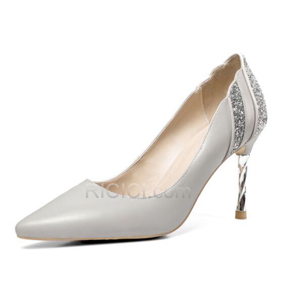De Punta Fina Blancos Zapatos De Dia De Piel Tacones Altos 9 cm Casuales Zapatos De Fiesta Stiletto Lentejuelas