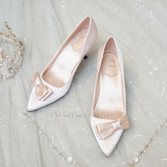 Zapatos Tacon Clasico Stilettos 6 cm Tacones Color Champagne Zapatos Dama De Honor