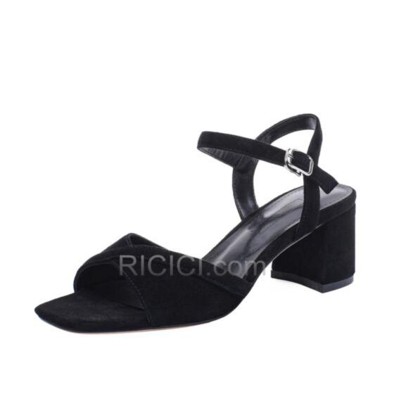 Negro 5 cm Tacones Tacon Ancho De Piel Sandalias