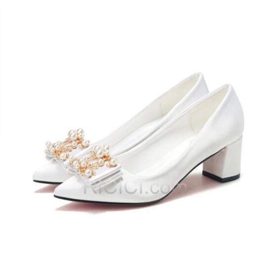 Zapatos De Novia De Satin Tacones Bajos Tacon Ancho De Punta Fina Blancos Zapatos