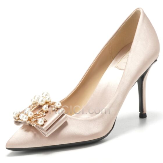 Stiletto Zapatos Mujer Color Champagne Elegantes De Punta Fina Tacon Alto Zapatos De Novia