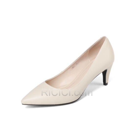 Casuales Color Crema Vestido Para Oficina 6 cm Tacon Stiletto Clasico Piel Zapatos Mujer