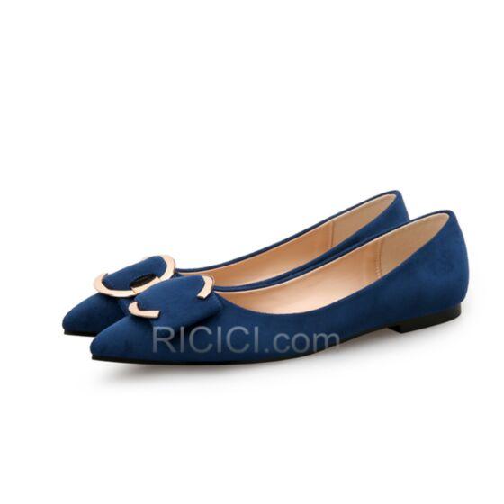 Lazo De Gamuza Azul Marino Casuales Ballerina Zapatos