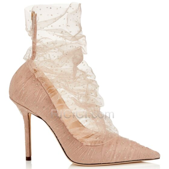En Punta Fina Tul Tacones Altos 8 cm Stiletto Zapatos Brillantes Nude