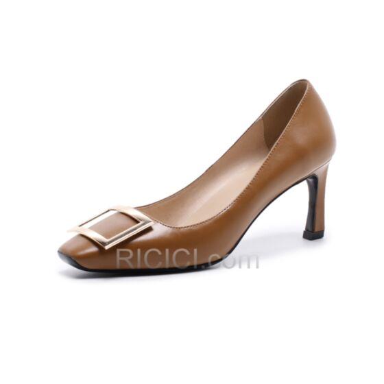Tacon Medio Zapatos Con Tacon Vestido Para Oficina De Piel Stilettos Sencillos