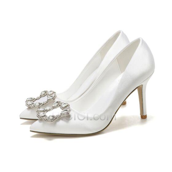Stiletto Tacon Medio Blancos En Punta Fina Zapatos De Boda Zapatos Tacon Elegantes