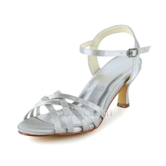 Romanas Tacon Medio De Satin Sandalias Zapatos De Novia Stilettos Blancos