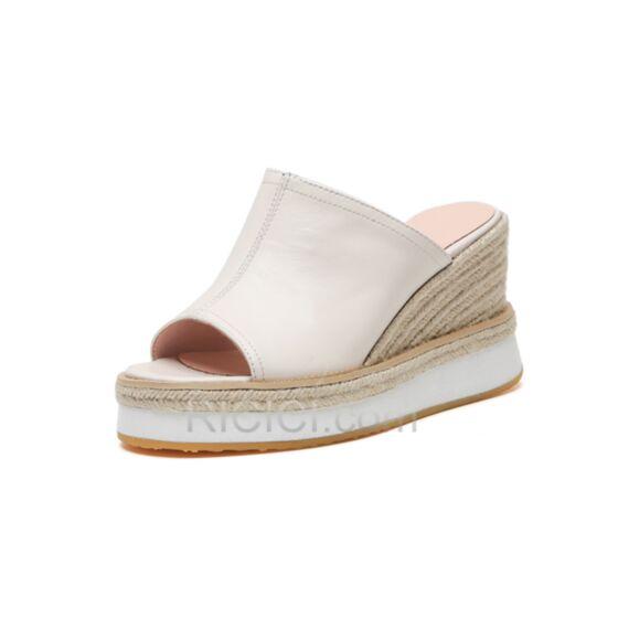 Blancos Tacon Alto 8 cm De Piel Informales Sandalias De Plataforma Alpargatas