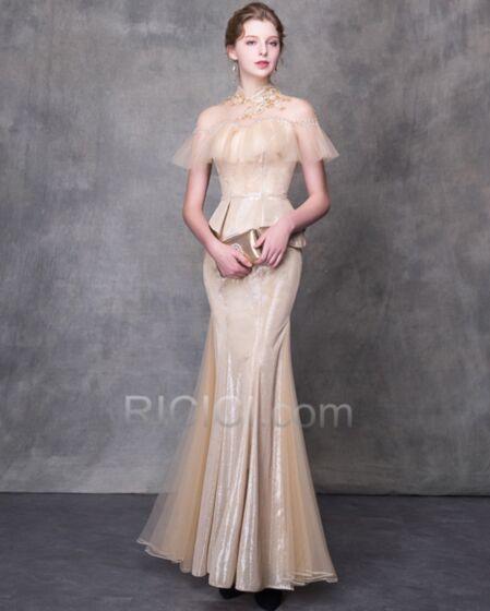 Bellissimi Luccicante Collo Alto Glitter Senza Maniche Trasparenti Scollo A Cuore Abiti Da Sera Peplum Dress Lungo Vestiti Da Cerimonia