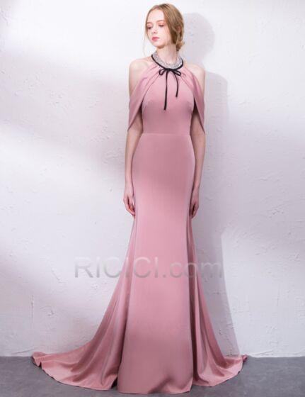 Ajustados Largos Con Lazo Sencillos Con Cola Vestidos De Noche Color Rosa Palo Elegantes Cristal