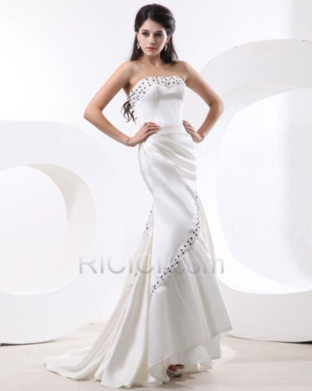 Lungo Sirena Vestiti Da Cerimonia Senza Maniche Bianco Vintage