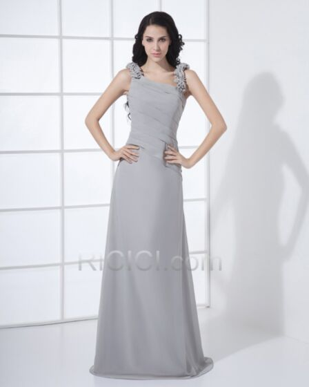 Eleganti Semplici Grigio Lungo Impero Vestiti Da Damigella Vestiti Da Cerimonia
