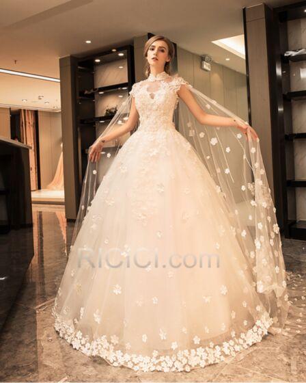 Scollo Profondo Eleganti Pizzo Collo Alto Schiena Scoperta Tulle Vestiti Da Sposa