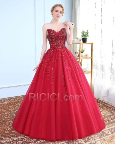 Lungo In Tulle Rosso Principessa Senza Spalline Con Perline Schiena Scoperta Abiti Cerimonia Sensuali