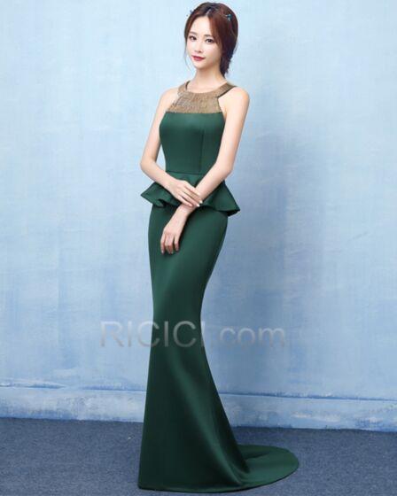 Lunghi Senza Maniche Peplum Dress Eleganti Raso Verde Bottiglia Vestito Da Sera Sirena Vestiti Da Cerimonia