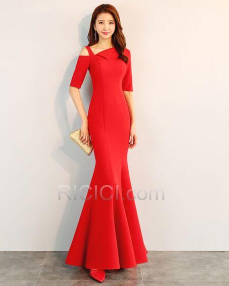 Abiti Per Matrimonio Raso Rosso Semplici Vestito Da Sera Mezza Manica Lungo Eleganti Sirena Vestiti Da Cerimonia