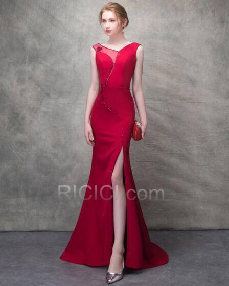 Tubino Sensuali Rosso Schiena Scoperta Eleganti Vestiti Da Cerimonia Tulle A Sirena Trasparenti Lungo Abiti Da Sera