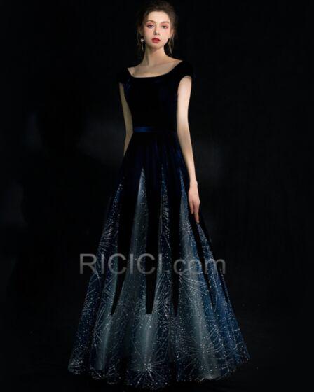 Lunghi Vestiti Cerimonia Eleganti Luccicante Abiti Da Sera Con Strass Senza Maniche Con Paillettes Blu Scuro Vestiti Prom