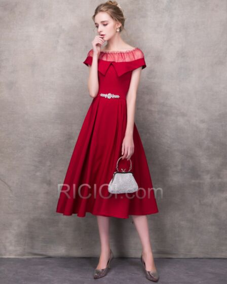 Eleganti In Raso Peplum Dress Rosso Tulle Abiti Da Cerimonia