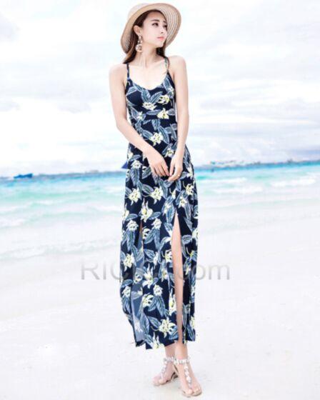 Con Scollo Profondo Boho Blu Scuro Con Spacco Casual Beachwear Schiena Scoperta Swing Lungo Vestito