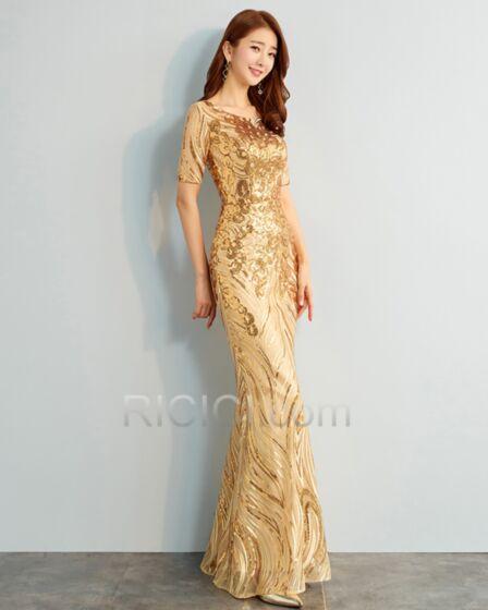 Lunghi Paillettes Sirena Maniche Corte Eleganti Tulle Oro