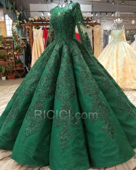 Vestiti Da Ballo In Pizzo Abiti Cerimonia Manica Lunga Abiti Quinceanera Modesti Principessa Verde Bottiglia Taglie Forti Eleganti Lungo