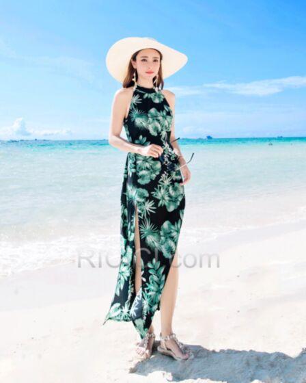 Verde Bottiglia Beachwear Vestito Lungo Stampato Chiffon Estivi