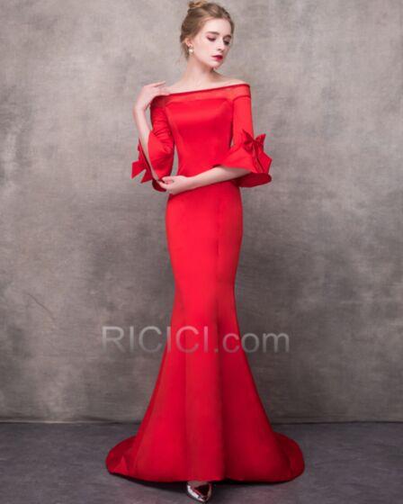 Abiti Da Sera Eleganti Tulle Semplici Rosso Lunghi Tubino Abiti Cerimonia