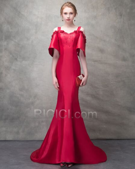 Schiena Scoperta Rosso Abiti Da Sera Sirena Eleganti Scollo A Cuore Di Raso