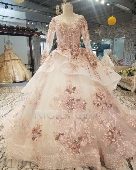Abiti Da Cerimonia Bellissimi Trasparente Abiti Quinceanera Tulle Scollo Profondo Vintage Rosa Cipria Principessa Vestiti 18 Anni Con Strascico