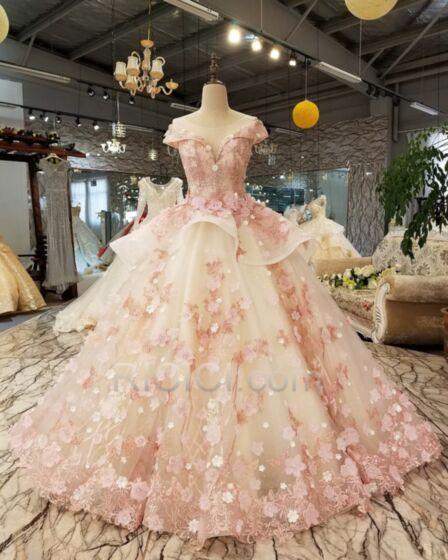 Principessa In Pizzo Vestiti Per 18 Anni Rosa Cipria Peplum Dress Eleganti Tulle Chic Abiti Quinceanera Senza Maniche Lunghi Scollo Profondo
