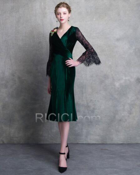 Lungo Al Polpaccio Maniche Lunghe Verde Bottiglia Vestito Matrimonio Invitata Velluto Abiti Cerimonia Mamma Sposa Portafoglio Eleganti