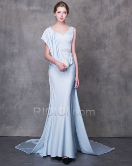 Abiti Cerimonia Eleganti Azzurro Polvere Abito Da Sera Lungo Vestito Mamma Sposa Impero