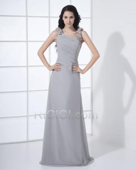 Lange Feestjurk Bruidsmeisjes Jurken Empire Mouwloze Een Schouder Grijze Elegante