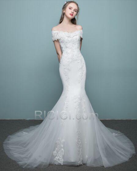 Maxi Off Shoulder Strakke Witte Mooie Bruidsjurken