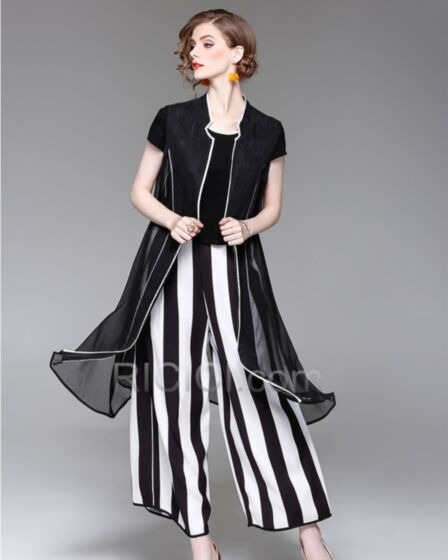 Elegante Zwart Wit Grote Maten Midi Korte Mouw Gestreepte