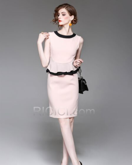 Elegante Midi Chiffon Licht Roze Mouwloze Strakke Jurk