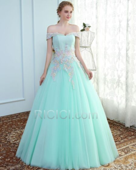 Korte Mouw Lange Tule Galajurken Elegante Baljurk Turquoise