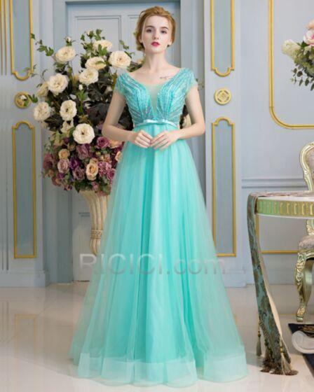 Empire Bruidsmeisjes Jurk Turquoise Lange Elegante Tule Avondjurken
