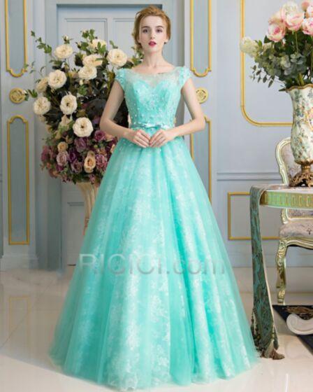 Lange Elegante Mouwloze Baljurk Turquoise Galajurk