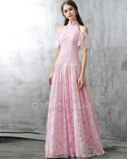 Elegante Galajurk Avondjurken Kanten Hoge Kraag Fit et Flare Roze Lange Korte Mouw