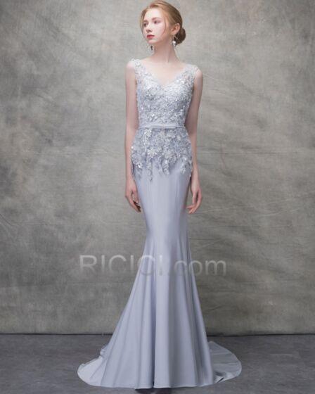 Mouwloze Applique Bruidsmeisjes Jurk Zeemeermin Lange Zilveren Galajurk Chiffon Avondjurk Kanten Open Rug Elegante